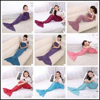 Wholesale Wholesale Crochet Bags - 13 Colors 140*70cm Kids Handmade Knitted Mermaid Blankets Mermaid Tail Blanket Crochet Blanket Throw Bed Wrap Sleeping Bag CCA8355 100pcs