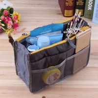 Wholesale handbag organiser inserts - Portable Double Zipper Bag Insert liner purse Organiser Handbag Women Travel Purse Pouch Bag in Bag Organizer Cosmetics Storage