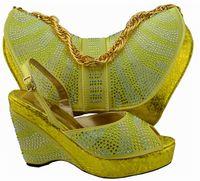 schuhe handtaschen sets großhandel-Heißer verkauf Afrikanische schuhe match handtasche sets damen high heels pumps mit strass für party kleid MM1005 gold, ferse 11 cm
