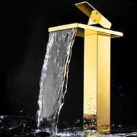 Wholesale Vessel Sink Square - EMS(DHL) Free shipping Ti-PVD Finish Solid Brass square spout waterfall Bathroom vessel Sink tall Faucet mixer tap
