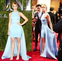 Wholesale Cheap Blue High Low Dresses - Tony Awards Red Carpet Prom Dresses Formal Evening Party Dress Light Sky Blue 2015 Long High Low Celebrity Gowns Runway Fashion Cheap Sexy