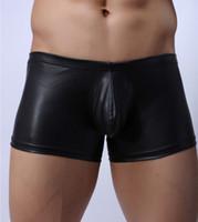 Wholesale Men S Bodywear - 2016 Sexy Brand Bodywear Boxer Low-rise Bulge Pouch Men Sexy Faux Leather boxer Underpants Black Tight Skin Panties HOMBRE El cuero bragas