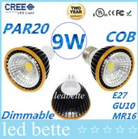 2014 Лучшая Dimmable PAR20 9W E27 E26 Светодиодные лампы Spot Light 600 Lumens 120 Angle Cool / Warm White GU5.3 MR16 12V Led Lights Lamp 110-240V CE CUL
