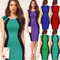 Wholesale Optical Summer Dress - New Fashion Womens Knee Length Optical Illusion Slimming Stretch Cocktail Bodycon Business Pencil Pinup Summer Dress