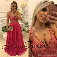 Wholesale Watermelon Art - Sexy Watermelon 2018 Lace Prom Dresses Pearls Beading Lace Formal Evening Gowns V Neck Illusion Back Floor Length Party Gowns