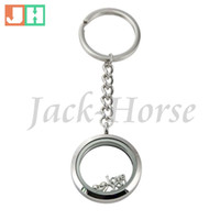 Wholesale Digital Photo Frames Keychain - Free shipping 30mm 316L stainless steel floating locket keychain high quality silver color twist style locket