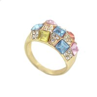 Wholesale Three Color Gold Ring - Created Anel Ouro Femininos Anillos Gift Rings Gold Color Rings for Women with Simulated Clorful Diamond