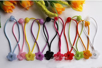 Wholesale Diy Flower Hair Band - 500pcs DIY hair accessories materials Elasticity hair ropes rubber band style with Plum flower bowl pink FJ3301