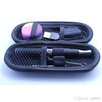 ego e zigaretten-dual-kit großhandel-Skillet Atomizer Kit mit Dual-Core-Spule Clearomizer E Solid Vaporizer E Zigarette mit Silikon-Gläser Tupfer Wachs EGO Tragetasche Reißverschluss