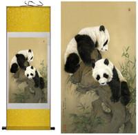 ingrosso muro arte cinese appeso scorrimento-1 Pezzo HD Stampato Panda Animale Immagini Muro Cinese Scroll Silk Wall Art Poster Immagine Pittura Decorazione Della Casa Appeso A Parete