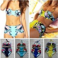 Wholesale Woman Bikini China - 2015 Newest Women bikini with National Flower Of China Printed Push Up Swimsuit Swimwear For Women Bathing Suit