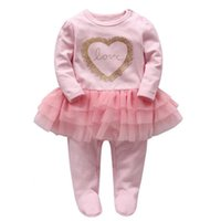 Wholesale Wrap Dress Long Sleeve L - Baby Romper Infant Wrap Foot Rompers Baby Girl LoveTutu Dress Romper Spring Pink Color Jumpsuit 6 p l