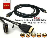 Cables Hdmi 6 Pies Baratos-5FT el 1.5M HDMI a HDMI v1.4 Cable cable / cable video audio Versión 1.4 del oro 3D 1080P 2M los 6FT