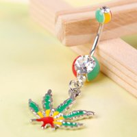 Gros-Jolie Colorful Belly Button Style de Maple Leaf Navel Barbell Anneaux Body Piercing Faux # 43954