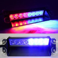 Wholesale-8 LED Red / Blue Car Police Strobe-Blitz-Licht Dash Emergency 3 Blinklicht New