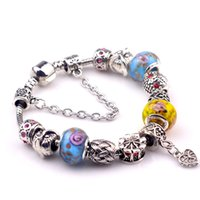Wholesale Stamped Snake Chain Bracelet - 925 ALE stamped thread core murano glass beads mix lampwork glass beads big hole Murano Charm Bead For Bracelets