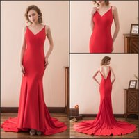 Sexy Mermaid Red Abendkleider Kleider Zug Sleeveless Backless Satin Günstige V-Ausschnitt Lager 2-16 Lange Party Dress Prom Formal Pageant