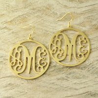 Wholesale date stamps - Custom Monogram Earrings with circle around hand stamped earrings alloy earrring Gold color