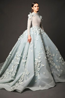 Wholesale Elie Saab Light Blue - High Neck Prom Dresses Elie Saab 2016 Appliques Beaded Arabic Evening Dress Long Sleeves Vintage Red Carpet Celebrity Party Gowns