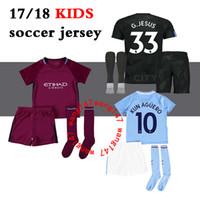 Wholesale Man City Football Kit - 17 18 kids Man City home soccer Jersey Kits KUN AGUERO STERLING Walker DE BRUYNE GUNDOGAN G.JESUS away Sane Bernardo child Football Shirts