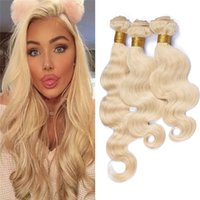 Wholesale Hair Extensions Blonde 613 - 8A Grade 613 Blonde Body Wave Hair Bundles 3Pcs Lot Peruvian Virgin Human Hair Weaves 613 Extensions In Stock