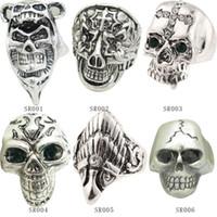 Wholesale European Fashion Style Ring - Mix style 2014 Fashion Antique Silver Ring Skeleton Jewelry Punk Skull Rhinestone European Biker Vintage Stainless Steel Rings For Men