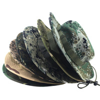 Wholesale camouflage caps hunting - Wholesale- Camouflage Bucket Hats Jungle Camo Fisherman Hat with Wide Brim Sun Fishing Bucket Hat Camping Hunting Caps 8 Styles