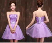 Wholesale Corset Tops For Cheap - Hot Sale Cheap Junior Bridesmaid Dresses Under 100$ For Girls Maid of Honor 2015 New Lavender Purple Lace Corset Top and Short Organza Skirt