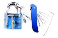 Wholesale Padlock Blue - Factory direct sale 1 Transparent Blue Padlock +1 Piece Blue folding Locksmith tools Pocket Lock Pick Sets (Jackknife) SYG-117