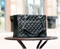 Wholesale American Black Caviar - high quality ladys women Quilted Chain genuine caviar leather handbag totes Chain Shoulder bag Crossbody Messenger Bag