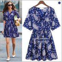 Wholesale New Korean Women S Dresses - Summer new large size Korean Style women short-sleeved chiffon dress Floral Dress Blue Casual S M L
