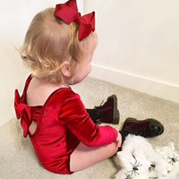 Wholesale cute black baby romper resale online - Ins Baby girl Romper Dance Bodysuit Pleuche Back Bow Cute solid Long sleeve Romper