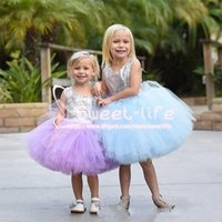 Wholesale Tea Length Empire Girls Dress - Cute Short 2017 Ball Gown Flower Girl Dresses Jewel Cap Sleeve Sequined Empire with bow Tulle Tiered Skirts Knee Pageant Communion gowns