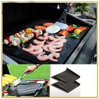 Wholesale Bbq Grill Mesh - Barbecue Grilling Liner BBQ Grill Mat Portable Non-stick and Reusable Make Grilling Easy 33*40CM 0.2MM Black Oven Hotplate Mats By DHL