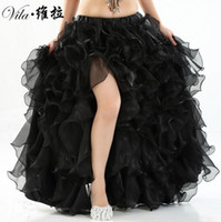 Wholesale Belly Dance Ruffled Skirts - Belly Dance Skirt 12 Colors Professional Performance 2017 Long Maxi Skirts Women Oriental style skirt