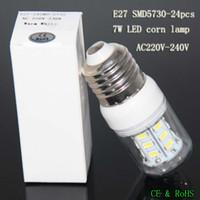 Wholesale E27 24pcs Led Corn - E27 LED 7W corn lamp SMD5730 chip 24pcs high quality ultra bright 360 beam angle led corn bulb light 110V 220V-240V indoor lighting