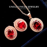 Lindo conjunto de jóias de jóias de cristal vermelho Rose Gold Color Oval Micro Setting Retro Princess Luxury Necklace / Earring Wholesale