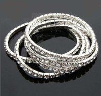 Wholesale Alloy Stretchy - Stretchy One Rows Bling Crystal Rhinestone Bracelets fashion bracelet chains Wedding Bride Crystal Rhinestone Bangle Jewelry Accessories