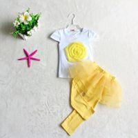 Wholesale Bigger Girl Shorts - Wholesale-2015 New Summer girls clothing set Short Sleeve yellow Pink flowers bigger cute shirt+ pants skirt Casual girls clothes