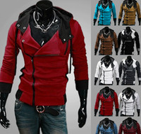 Wholesale Desmond Miles Cosplay - FREE SHIPPING New Assassin's Creed 3 Desmond Miles Hoodie Top Coat Jacket Cosplay Costume, assassins creed style Hooded fleece jacket, @dds