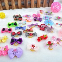 Wholesale Dog Bows Rhinestone - New Mix Designs Rhinestone Pearls Style dog bows pet hair bows dog hair accessories grooming products Cute Gift 100pcs lot 0594