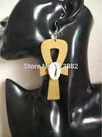 Wholesale Wooden Symbols - Free shipping!! Hot Sale Ankh Symbol Wooden Earrings