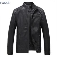 Wholesale Male Leather Wool Clothing - Wholesale- FGKKS Brand Motorcycle Leather Jackets Men Autumn and Winter Leather Clothing Men Leather Jackets Male Business Casual Coats
