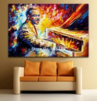 Wholesale Musician Oil Painting - Palette Knife Painting Jazz Musician-Count Basie Picture Printed On Canvas For Home Office Hotel Wall Decor Art