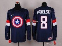 kaptan amerika hokeyi toptan satış-30 Takım-Toptan 2015 Yeni Toptan erkek # 8 Pavelski Mavi / Beyaz Kaptan Amerika Moda Buz Hokeyi Formaları