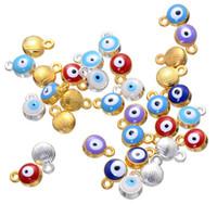 Wholesale Evil Eye Amulets - 500pcs 1.6*7*10mm Turkish Evil Eye charms alloy silver gold color enamel Nazar Boncugu amulets runes beads charms pendant ACH0005