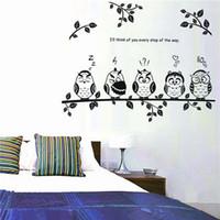 Wholesale Vinyl Reusable Stickers - 50x70cm Waterproof reusable Owl Birds Branch Removable Vinyl Decals for Kids Baby Bedroom Home Decor Mural DIY Wall sticker order<$18no trac