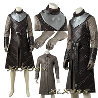 ingrosso costumi personalizzati-Game of Thrones Stagione 7 Jon Snow Costume Cosplay Outfit Halloween Abbigliamento Suit Fancy Uniform Custom Made di alta qualità