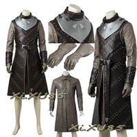 trajes de calidad personalizados al por mayor-Game of Thrones Temporada 7 Jon Snow Costume Traje de Cosplay Halloween Traje de vestir Fancy Uniform Custom Made High Quality