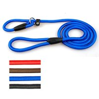 Wholesale Rope Slip Leash - Nylon Rope Dog whisperer Cesar Millan Style Slip Training Leash Lead and Collar Red Blue Black Colors For Small Breeds